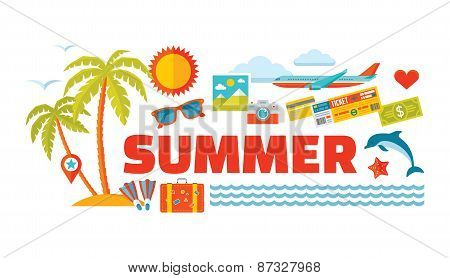 Summer - vector logo word with icons in flat style. Summer illustration. Summer icons set.