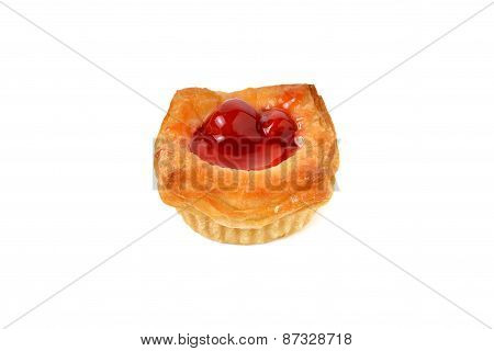Mini Raspberry Danish On White Background