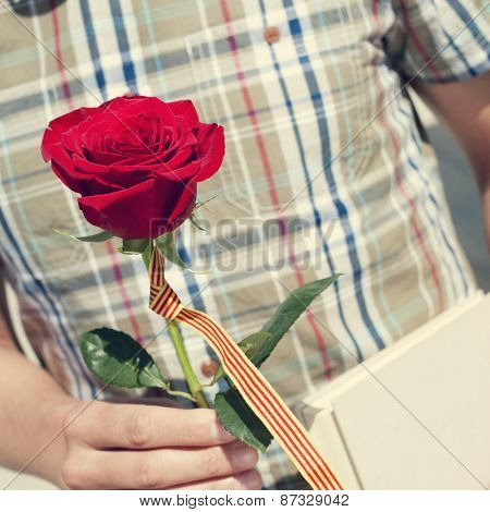 a young man with a red rose and the catalan flag, and a book for Sant Jordi, the Saint Georges Day, when it is tradition to give red roses and books in Catalonia, Spain