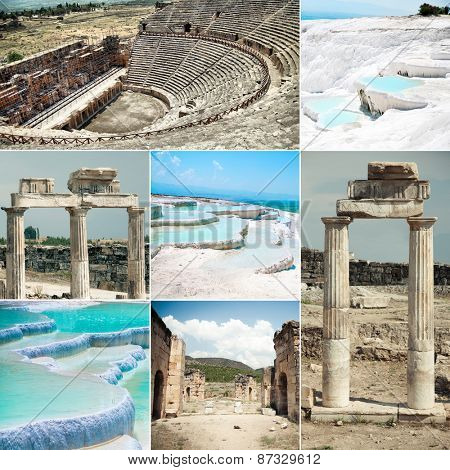 photo collage geothermal springs of Pamukkale and Hierapolis ruins