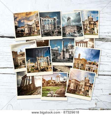photo collage with views of ancient Roman Forum