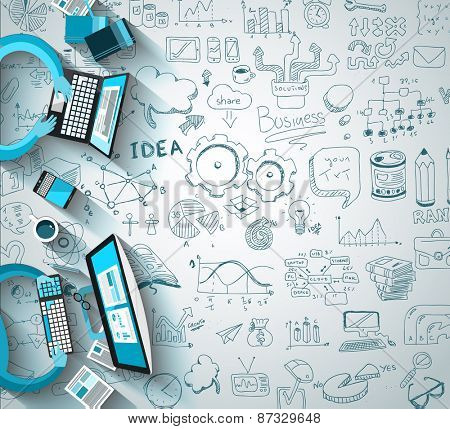 Infographics Teamwork with Business doodles Sketch background: infographics vector elements isolated, . It include lots of icons included graphs, stats, devices,laptops, clouds, concepts and so on.