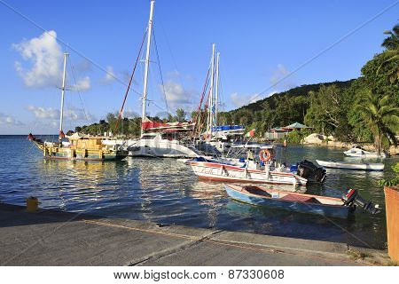 Port on the island of La Digue