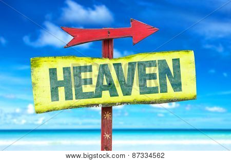 Heaven sign with beach background