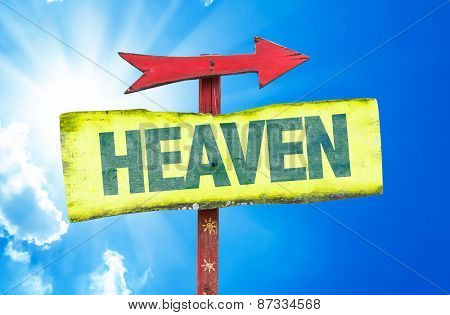 Heaven sign with sky background