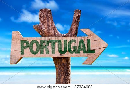 Portugal sign with beach background