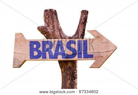 Brazil (in Portuguese) wooden sign isolated on white background