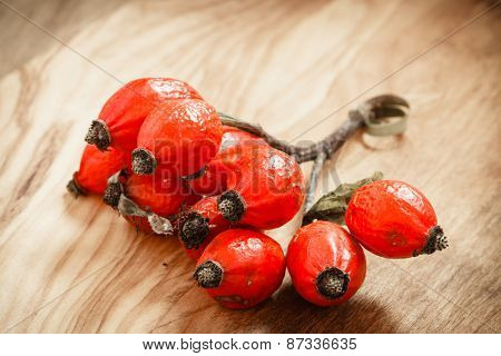 Hawthorn On Wooden Table Background