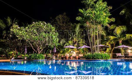 night view of beautiful swimming pool in tropical resort , Koh Chang Thailand