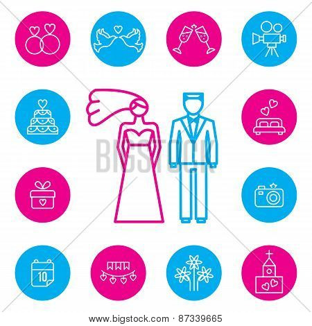 Wedding, bride and groom flat icons set