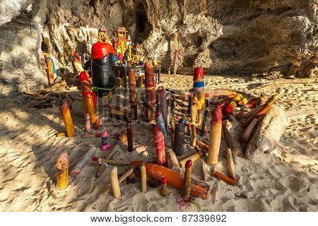 Wooden phalluses in Pranang cave. South Railay beach in Krabi. Thailand. It is believed among villagers the here that the spirit of Pranang (Princess Goddess) resides in this cave