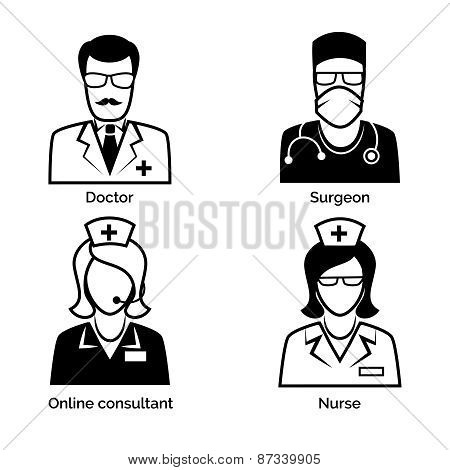 Medical staff icons. Doctor, nurse, surgeon and physician