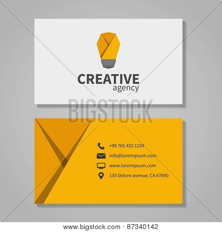 Creative agensy business card template with light bulb