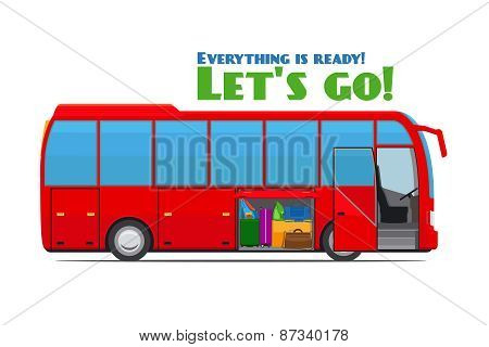 Luggage in tourist bus