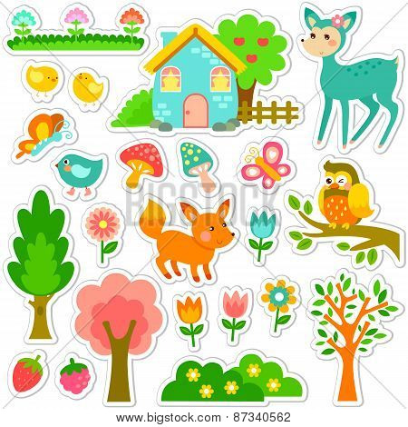 forest stickers set