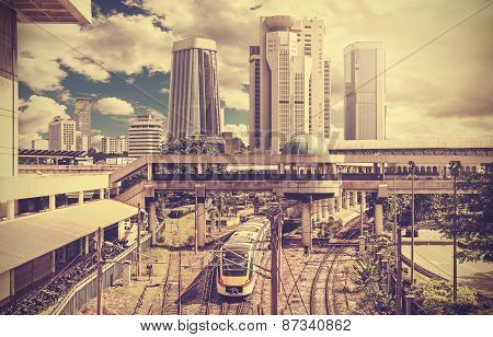 Retro Stylized Photo Of A Modern City.
