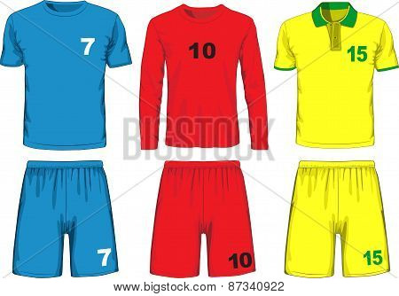 Set of different soccer uniform. Vector