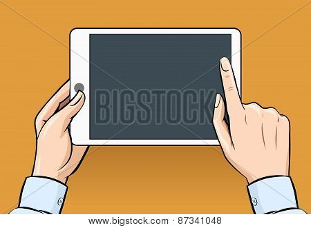 Hands holding and touching on digital tablet in vintage style
