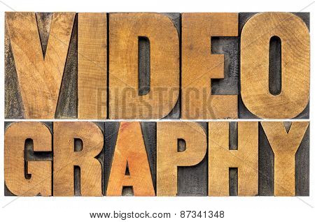 videography word abstract - isolated text in letterpress wood type