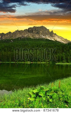 Lake Misurina at sunset - Dolomites, Italy