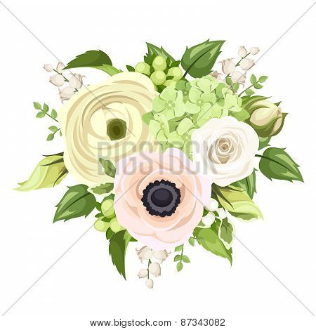 Bouquet with rose, anemone, ranunculus, lily of the valley and hydrangea flowers. Vector illustratio