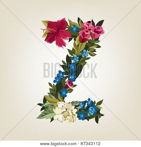Z letter. Flower capital alphabet. Colorful font. Uppercase.