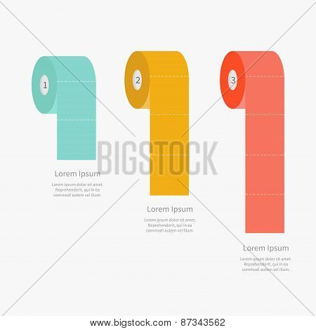 Toilet Paper Roll Set Dash Line Flat Design Three Step Infographic With Text Template