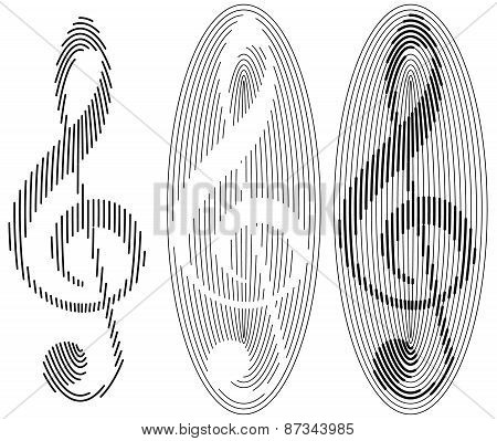 abstract treble clefs