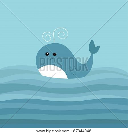 Cartoon Whale In The Ocean With Blue Waves Kids Background Flat Design