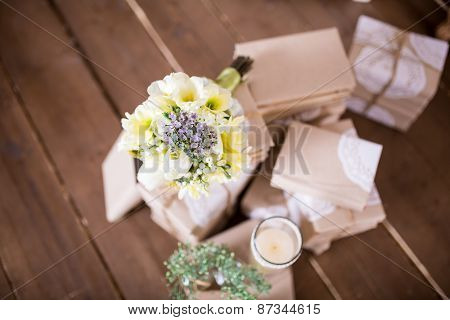 Flowers And Book Heap
