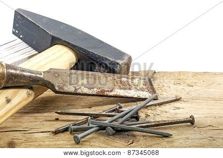 Old Woodworker Tools On Rustic Wood  White Background