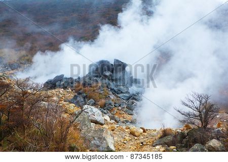 Volcanic steam vents or springs.