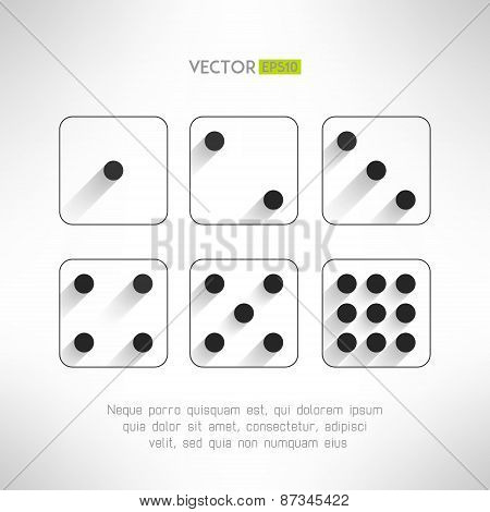 Black and white dice icons set in modern flat design. Craps with long shadows. Casino element. Vecto