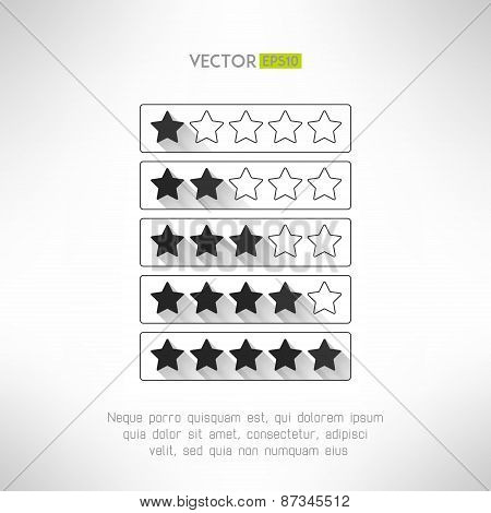 Five stars rate design elements in modern simple flat design. Rank buttons with long shadows. Vector