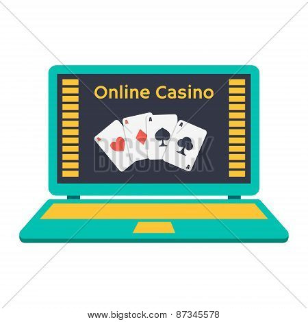 Online Casino. Playing Cards On A Laptop Monitor. Flat Design.