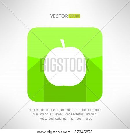 Apple icon in modern clean and simple flat design. Apple symbol with long shadow. Vector illustratio