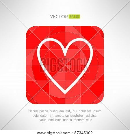 Red white heart icon in modern geometrical design. Social network like low poly symbol. Vector illus