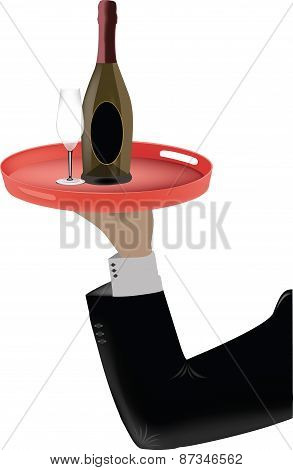 Waiter holds a tray with a bottle of wine