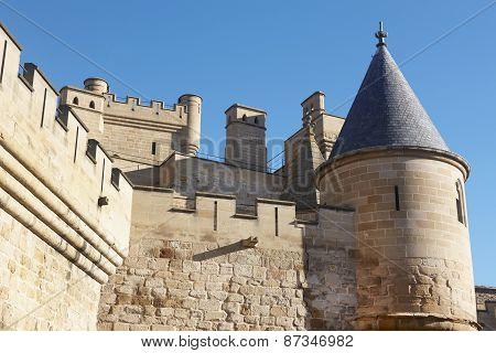 Antique Castle Battlement Detail In Olite, Navarra In Spain