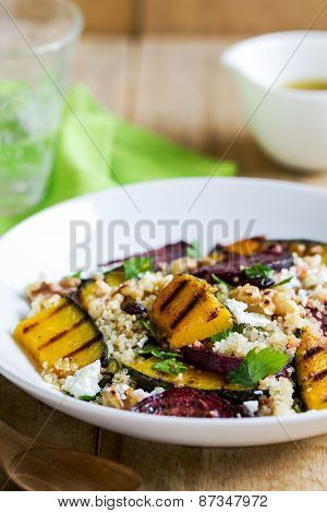 Quinoa With Grilled Pumpkin And Beetroot Salad