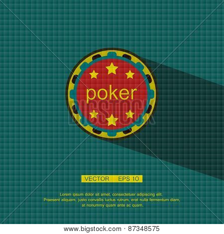 Flat style with long shadows, poker chip vector icon illustration.