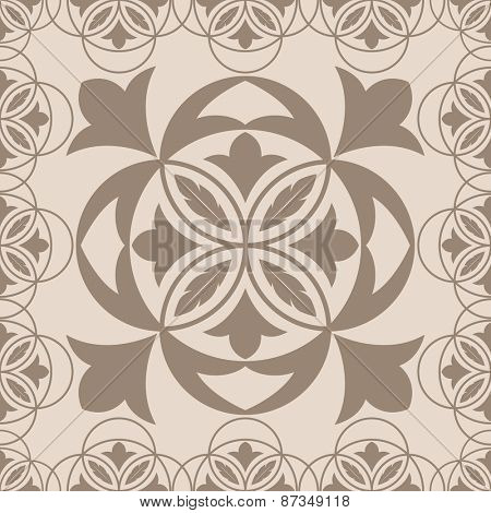 Seamless beige ornament with abstract flower bud.