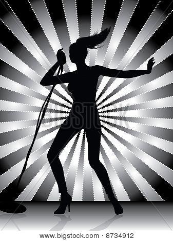 Silueta de la cantante femenina