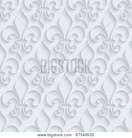 White paper with outline extrude effect. Fleur-de-lis 3d seamless background. Halftone vector EPS10.