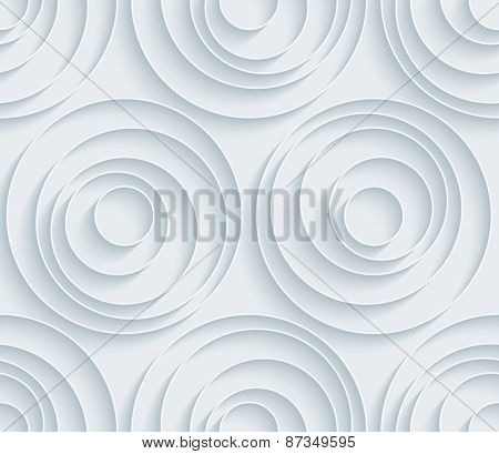 White paper with outline extrude effect. Abstract circles 3d seamless background. Halftone vector EPS10.