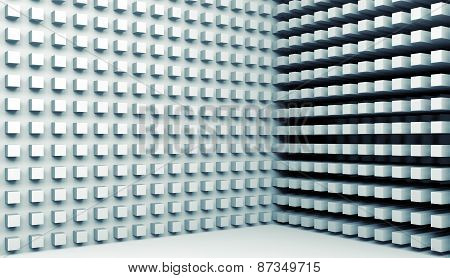 3D Digital Background With Small Cubes Pattern On Walls