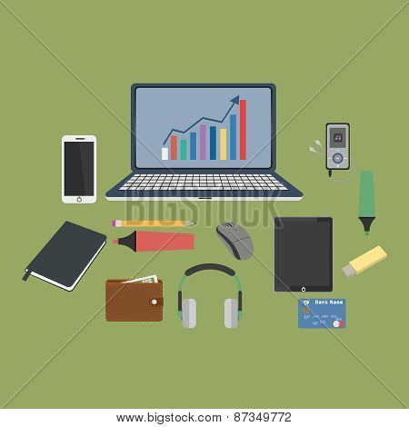 Set of business working elements for digital marketing