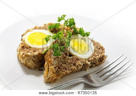 Slices Of  Meatloaf With Boiled Eggs  For Easter