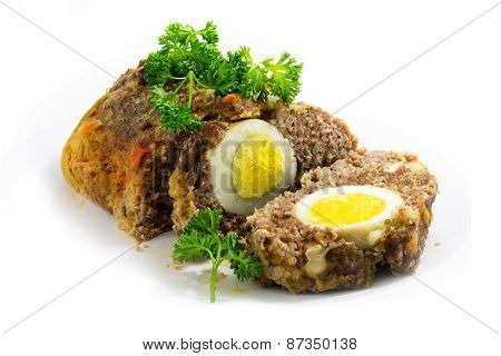 Meatloaf With Boiled Eggs Inside For Easter, Isolated