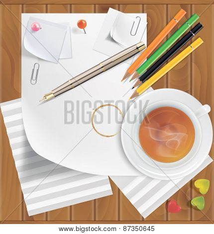 Colored Pencils, Pushpins, Paper Clips, Paper Sheets, Tea, Coffee, Caramel On A Wooden Surface
